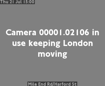 Mile End Road / Harford Street traffic camera.