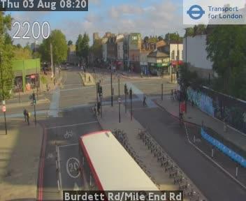 Burdett Road / Mile End Road traffic camera.