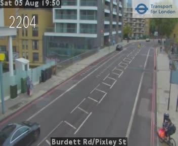 Burdett Road / Pixley Street traffic camera.