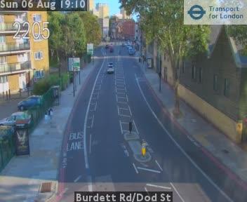 Burdett Road / Dod Street traffic camera.