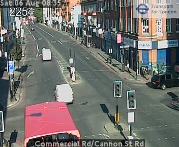 Commercial Road / Cannon Street Road traffic camera.