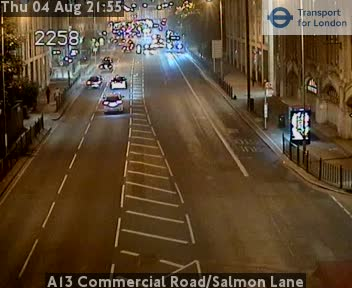 A13 Commercial Road / Salmon Lane traffic camera.