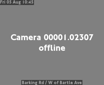 Barking Road  /  West of Bartle Avenue traffic camera.
