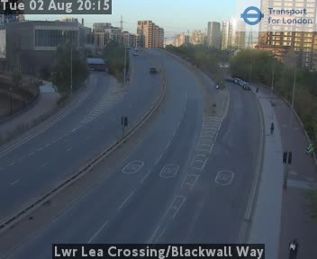 Lower Lea Crossing / Blackwall Way traffic camera.