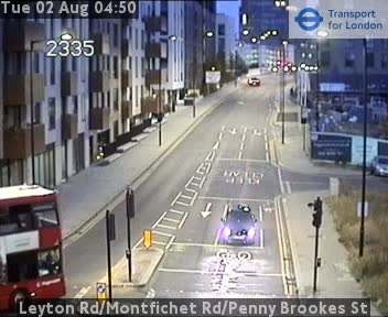 Leyton Road / Montfichet Road / Penny Brookes Street traffic camera.