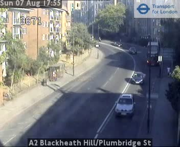 A2 Blackheath Hill / Plumbridge Street traffic camera.