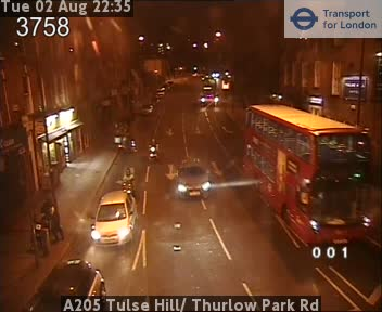 A205 Tulse Hill /  Thurlow Park Road traffic camera.