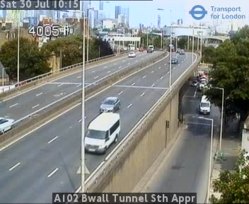 A102 Blackwall Tunnel South Approach traffic camera.