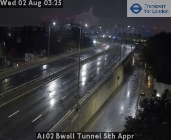 A102 Blackwall Tunnel South Approach traffic camera.