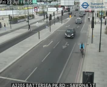 A3205 BATTERSEA Park Road - SAVONA Street traffic camera.