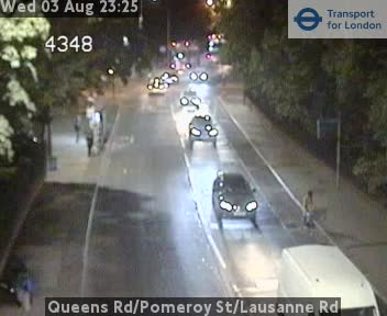 Queens Road / Pomeroy Street / Lausanne Road traffic camera.