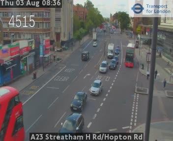 A23 Streatham High Road / Hopton Road traffic camera.
