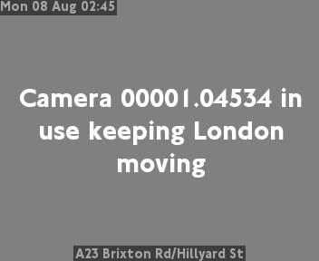 A23 Brixton Road / Hillyard Street traffic camera.