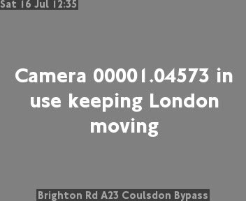 Brighton Road A23 Coulsdon Bypass traffic camera.