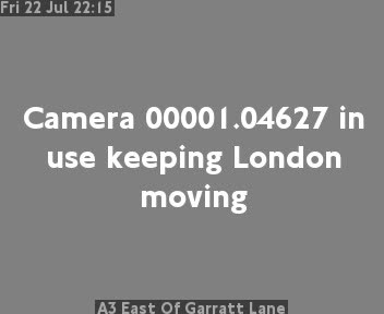 A3 East Of Garratt Lane traffic camera.