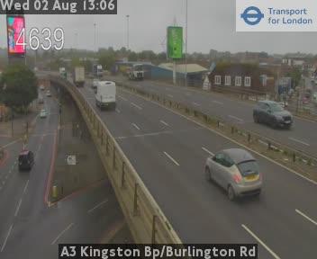 A3 Kingston Bypass / Burlington Road traffic camera.