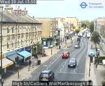 High Street / Colliers Wood / Marlborough Road traffic camera.
