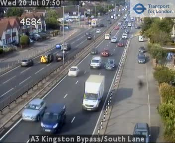 A3 Kingston Bypass / South Lane traffic camera.