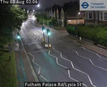 Fulham Palace Road / Lysia Street traffic camera.