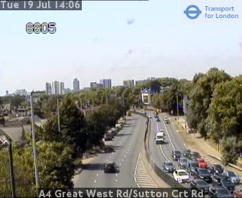 A4 Great West Road / Sutton Court Road traffic camera.