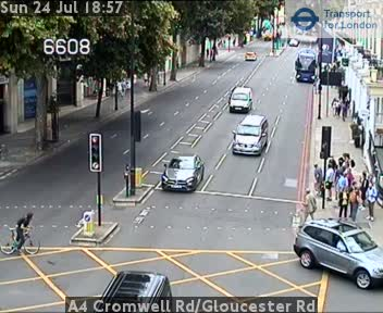 A4 Cromwell Road / Gloucester Road traffic camera.
