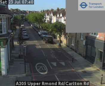 A205 Upper Richmond Road / Carlton Road traffic camera.
