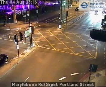 Marylebone Road Great Portland Street London Traffic Weather Jam Cam Central London