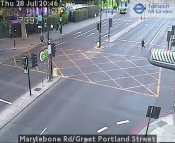 Marylebone Road / Great Portland Street traffic camera.