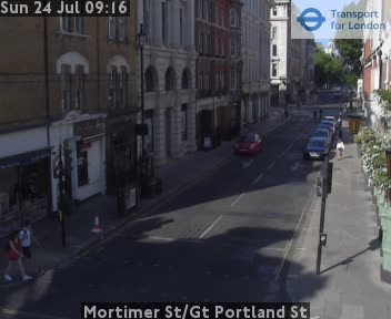 Mortimer Street / Great Portland Street traffic camera.