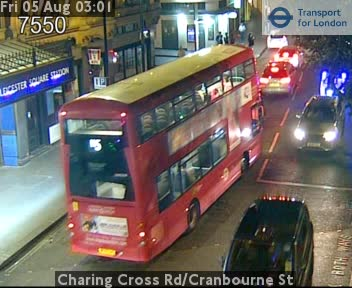 Charing Cross Road / Cranbourne Street traffic camera.