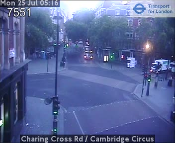 Cambridge Circus London Traffic Weather Cam Central London
