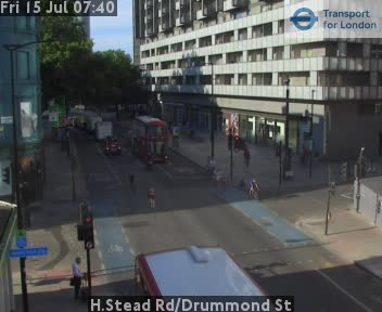 Hampstead Road / Drummond Street traffic camera.