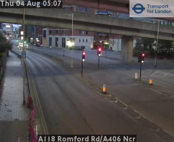 A118 Romford Road / A406 North Circular Road traffic camera.