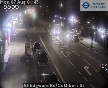 A5 Edgware Road / Cuthbert Street traffic camera.