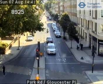 Park Road  /  Gloucester Place traffic camera.