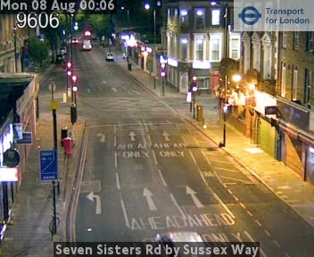 Seven Sisters Road by Sussex Way traffic camera.