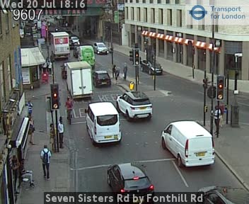 Seven Sisters Road by Fonthill Road traffic camera.
