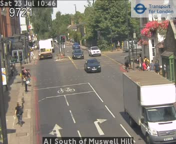 A1 South of Muswell Hill traffic camera.