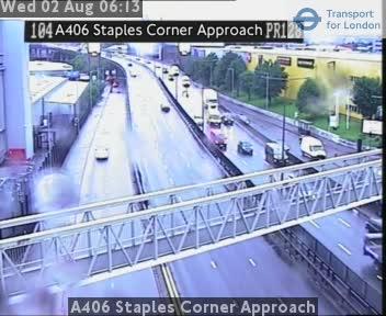 A406 Staples Corner Approach traffic camera.