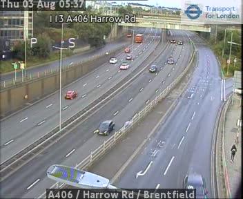 A406  /  Harrow Road  /  Brentfield traffic camera.