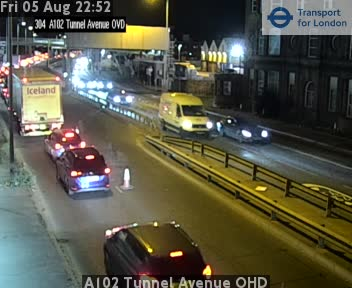 A102 Tunnel Avenue OHD traffic camera.