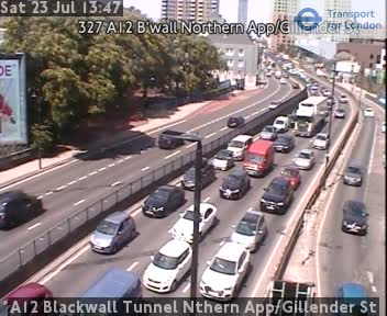 A12 Blackwall Tunnel Northern Approach / Gillender Street traffic camera.