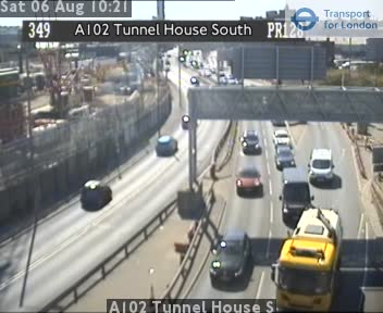 A102 Blackwall Tunnel Southern Approach Woolwich Rd Flyover London Traffic Cam