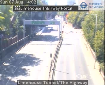 Limehouse Tunnel / The Highway traffic camera.