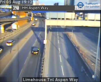 Limehouse Tunnel Aspen Way traffic camera.