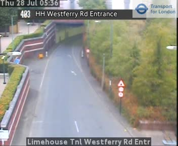 Limehouse Tunnel Westferry Road Entr traffic camera.