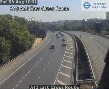 A12 East Cross Route traffic camera.