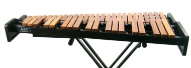 Adams & Concorde desk-top xylophones on stand. 2.5 octave & 3.5 octave. Padauk/ light rosewood notes