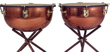"Adams Baroque timpani with copper bowls and stands. 23"" & 26"""