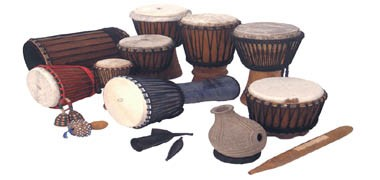 Djembes, Egyptian Riqs, and many other exotic Middle Eastern and African percussion instruments.